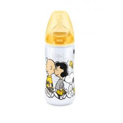Biberon snoopy silicona 0-6 meses amarillo 300 ml
